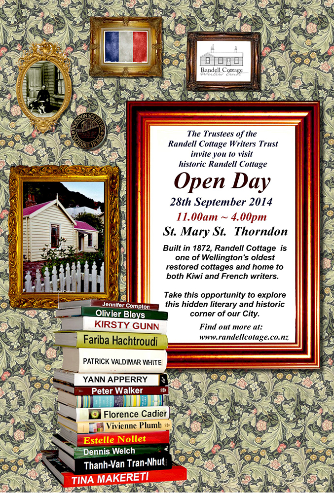 Open Day: The Trustees of the Randell Cottage Writers Trust invite you to visit historic Randell Cottage.    28th September 2014, 11am to 4pm, Saint Mary Street, Thorndon.