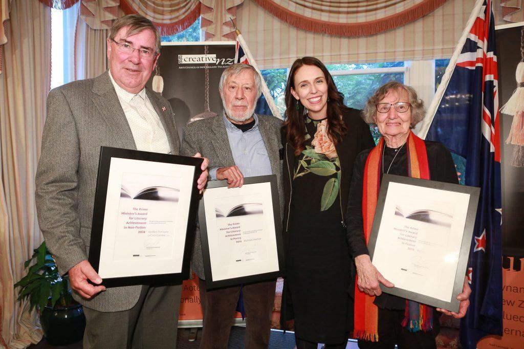 Wystan Curnow, Michael Harlow, Prime Minister Jacinda Ardern, and Renée, Monday 15 October, 2018