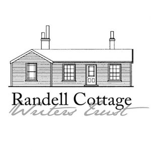 Ink drawing of a house with chimneys and the text Randell Cottage Writers Trust