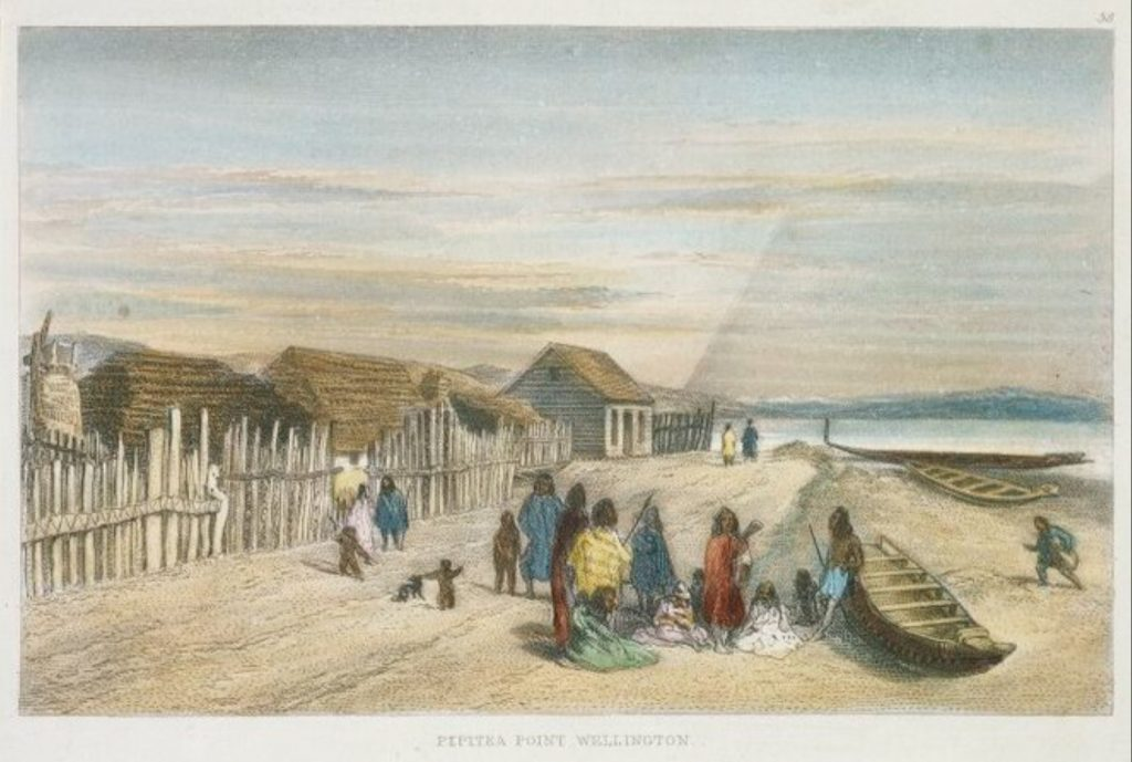 [Brees, Samuel Charles] 1810-1865 :Pipitea Point, Wellington [Between 1842 and 1845] Engraved by Henry Melville. Drawn by S C Brees. [London, 1847]. [Brees, Samuel Charles] 1810-1865 :Pictorial Illustrations of New Zealand. Plate 13. Pipitea Point, Wellington, 38; View looking down Hawkestone Street, Wellington with Mr Brees Cottage, 39; Wesleyan Chapel & Mission House, Wellington, 40. Engraved by Henry Melville. Drawn by S C Brees. [London, 1847]. Ref: A-109-020. Alexander Turnbull Library, Wellington, New Zealand. /records/23168219