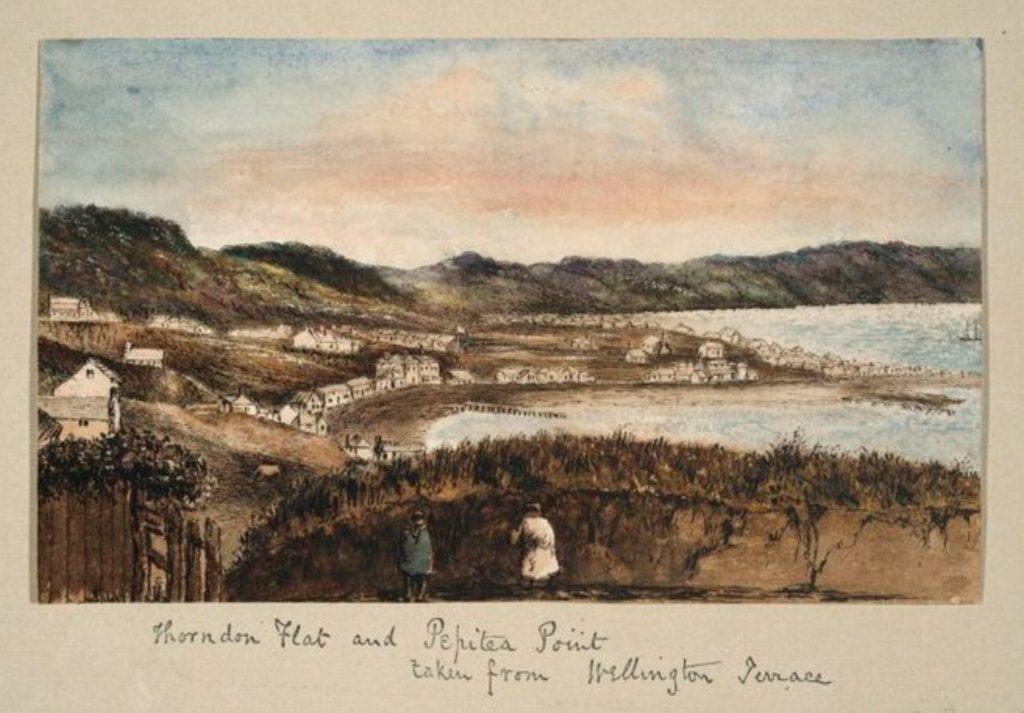 Pearse, John 1808-1882 :[Views of Wellington ca 1852]. Thorndon Flat and Pepitea Point taken from Wellington Terrace.. Pearse, John 1808-1882 :[Album. 1851-1856]. Ref: E-455-f-037-1. Alexander Turnbull Library, Wellington, New Zealand. /records/22403517