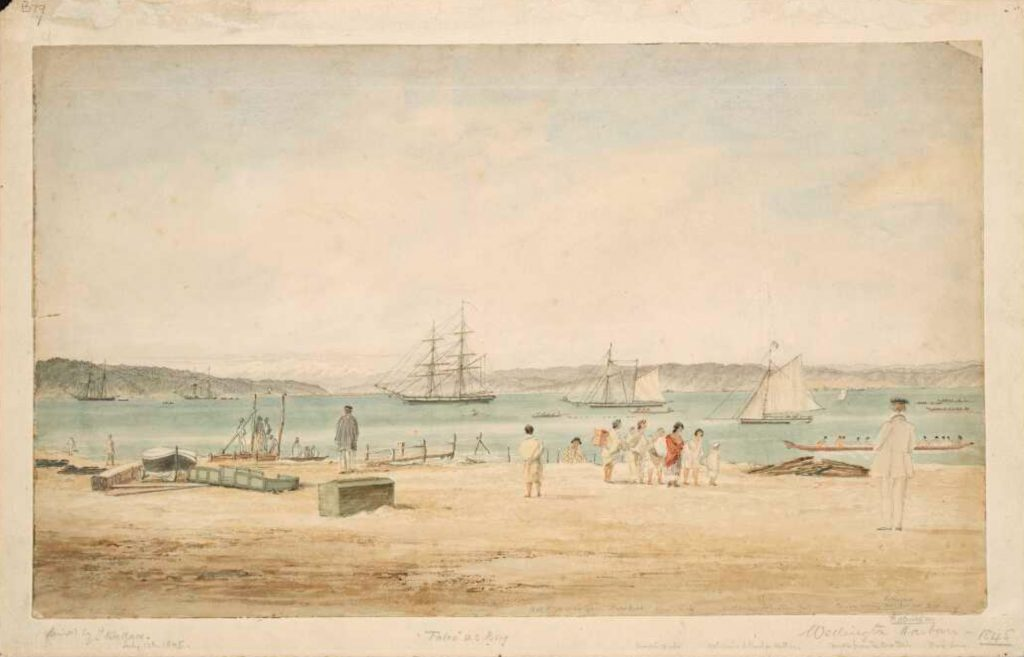 Wallace, John, 1788-1880. Wallace, John, 1788-1880 :View of Wellington Harbour from Thorndon Beach. 12 July 1845.. Ref: B-079-007. Alexander Turnbull Library, Wellington, New Zealand. /records/22899794