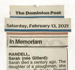 Part of an In Memoriam paper cutting