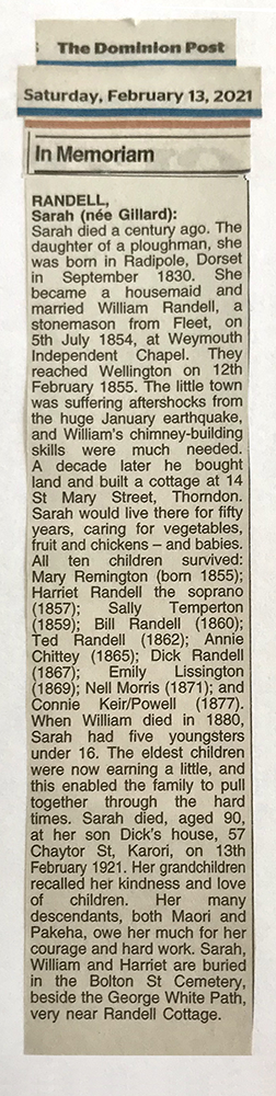 An 'In Memoriam' notice cut from the newspaper for Sarah Randell